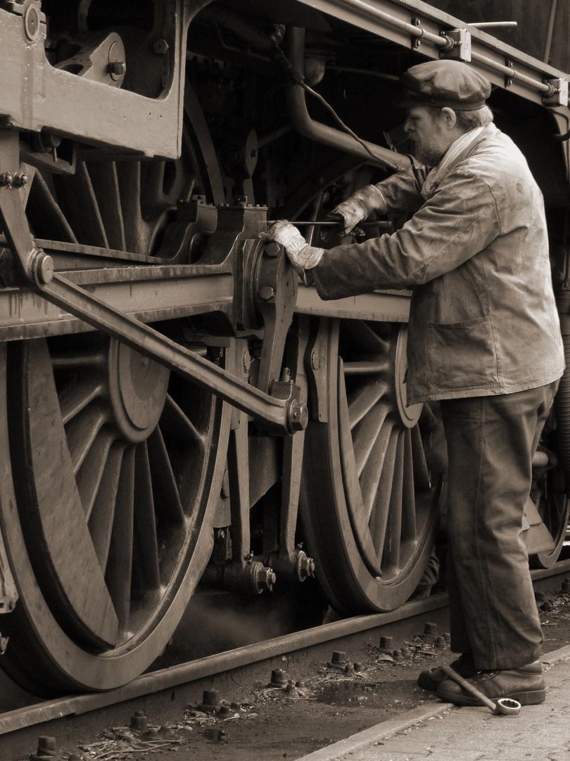 Lokführer im Eisenbahnmuseum Bochum