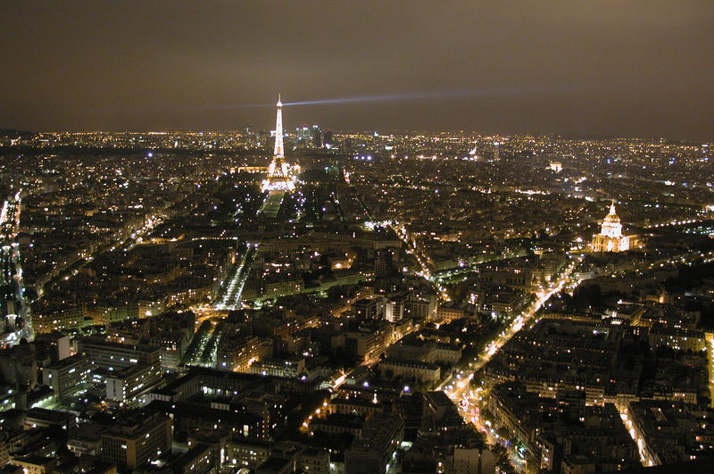 Look over Paris by night from Montparnasse