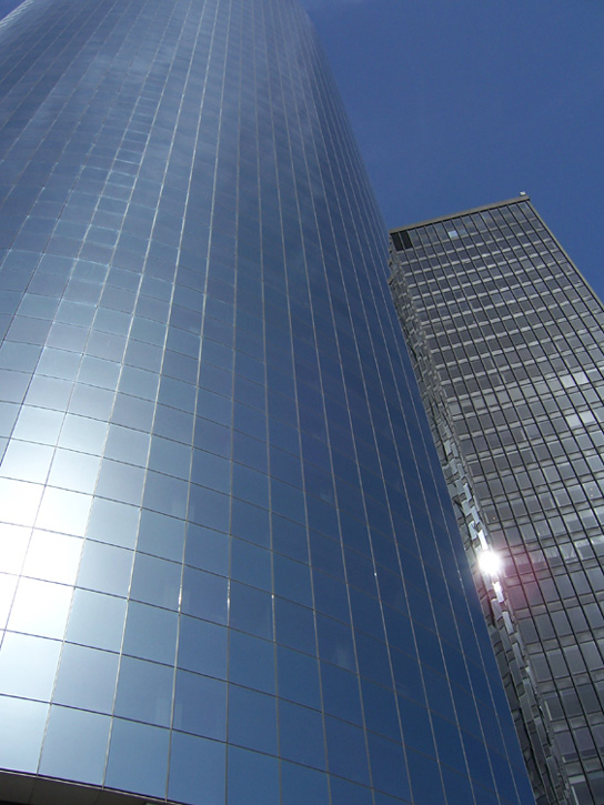 Looking up at Glass Front Sky-Scraper