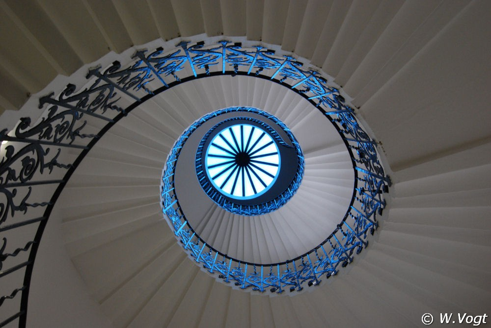 Looking up the Tulip Staircase in the Queens House in Greenwich