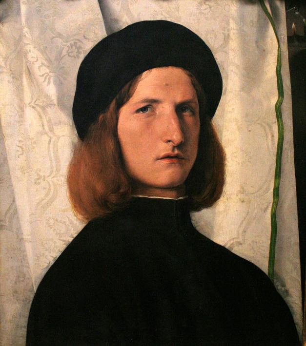 Lorenzo Lotto: Junger Mann vor weißem Vorhang (2. Version)