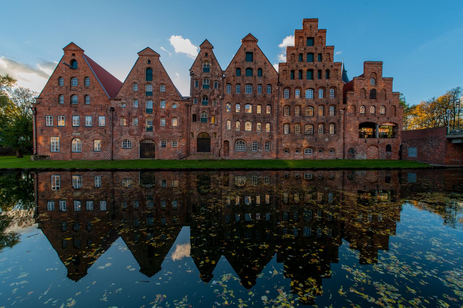 Lübecker Salzspeicher im Gegenlicht