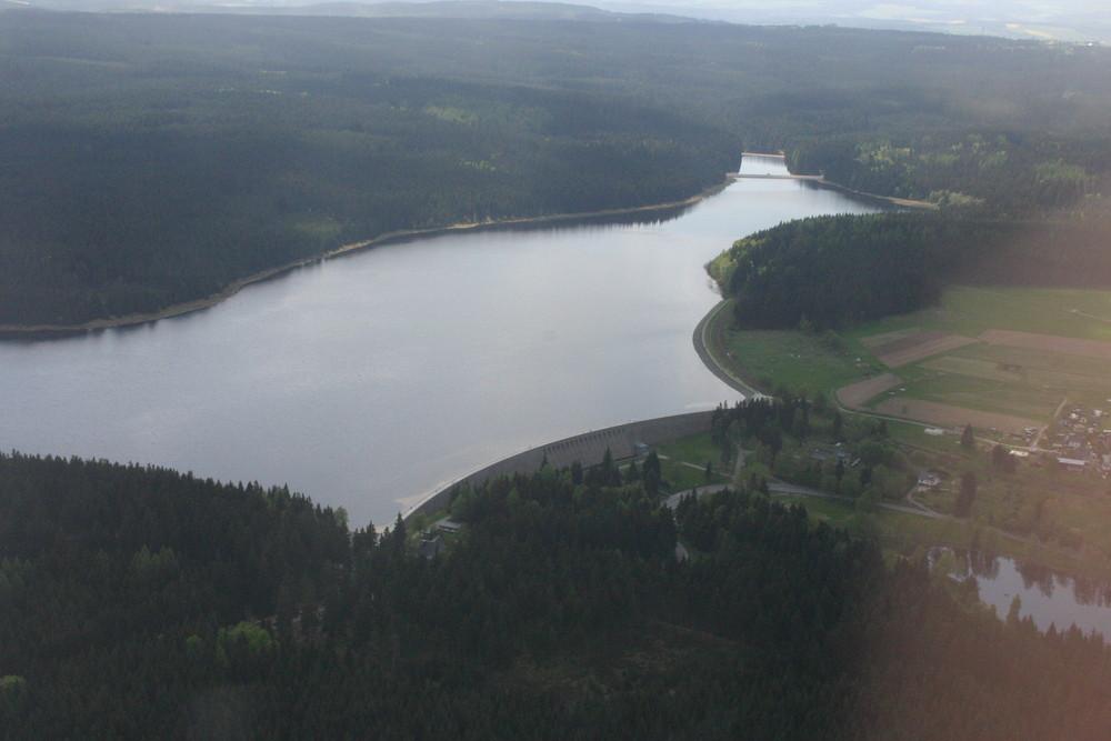 Luftaufnahme Talsperre Muldenberg