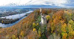 Luftbildpanorama - Hohensyburg, Hengsteysee aerial picture Hohensyburg