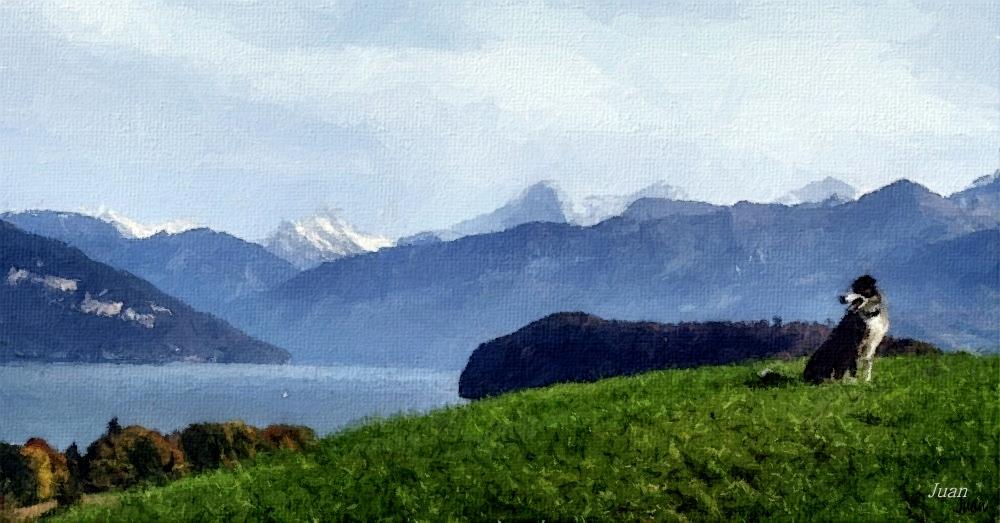 Luk bewundert die Berge
