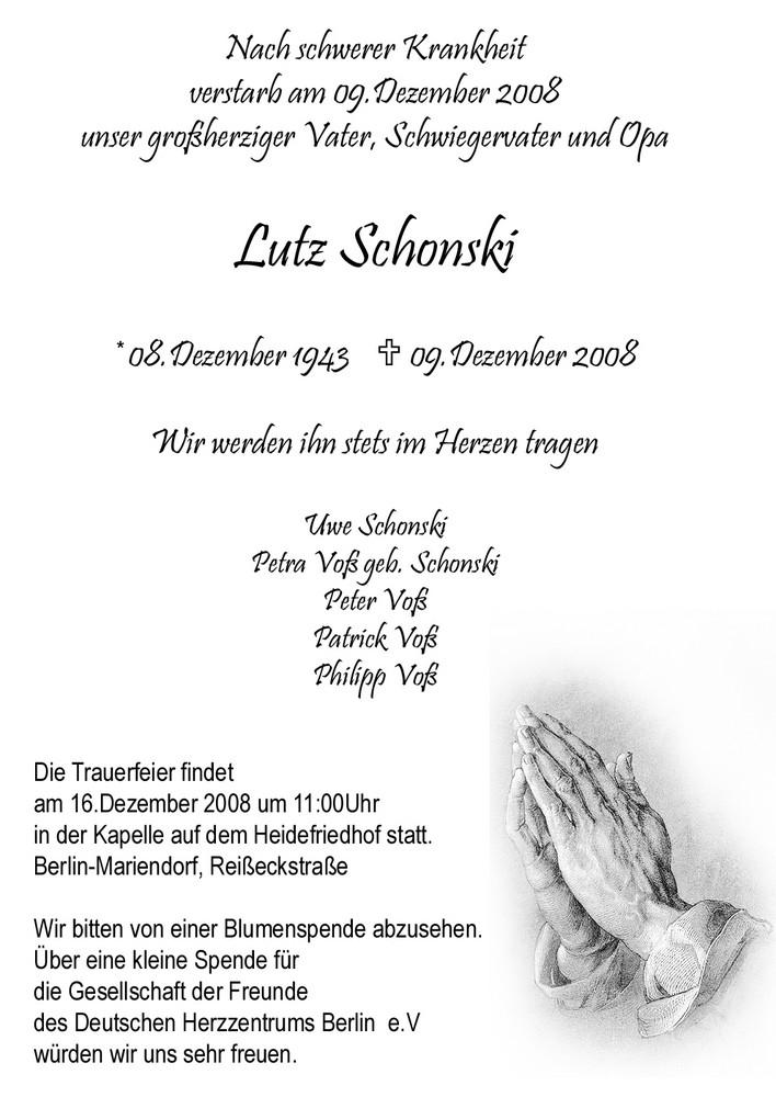 Lutz Schonski  *08.Dezember 1943  +09.Dezember 2008
