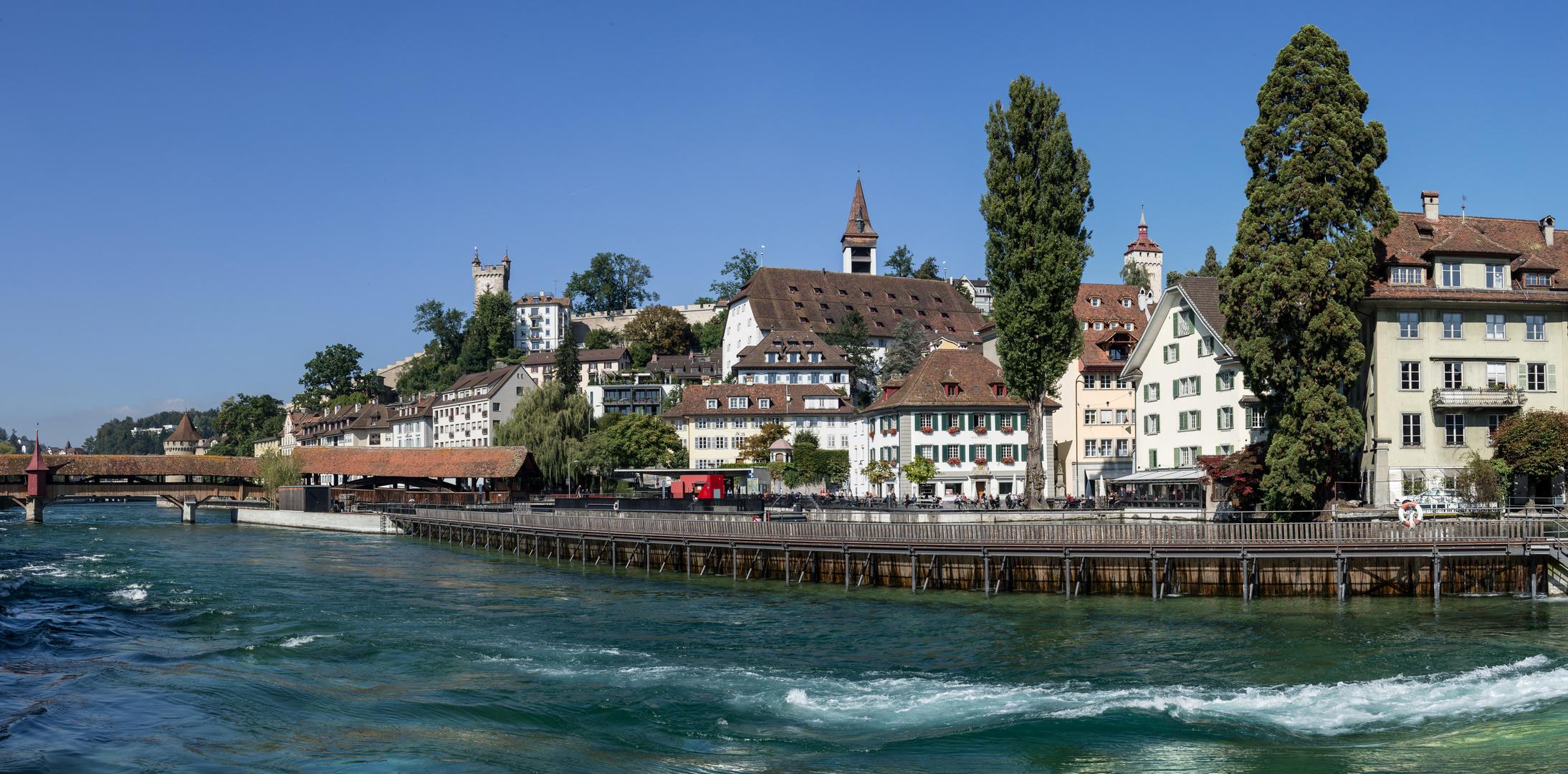 Luzern mit Blick auf Reuss und Museggtürme