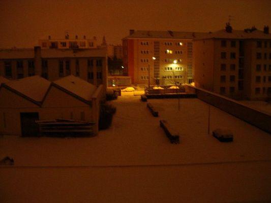 Lyon, la nuit, la neige
