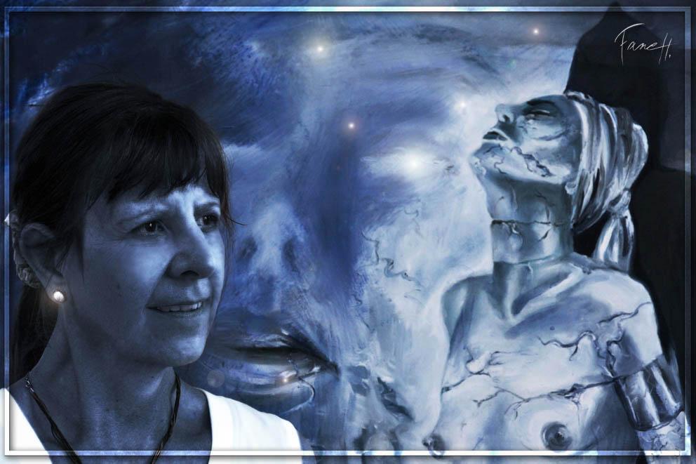 Ma mère, Jane B, intégrée dans ma peinture! ^^