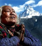 Machhapuchere from Ghandruck with the local lady