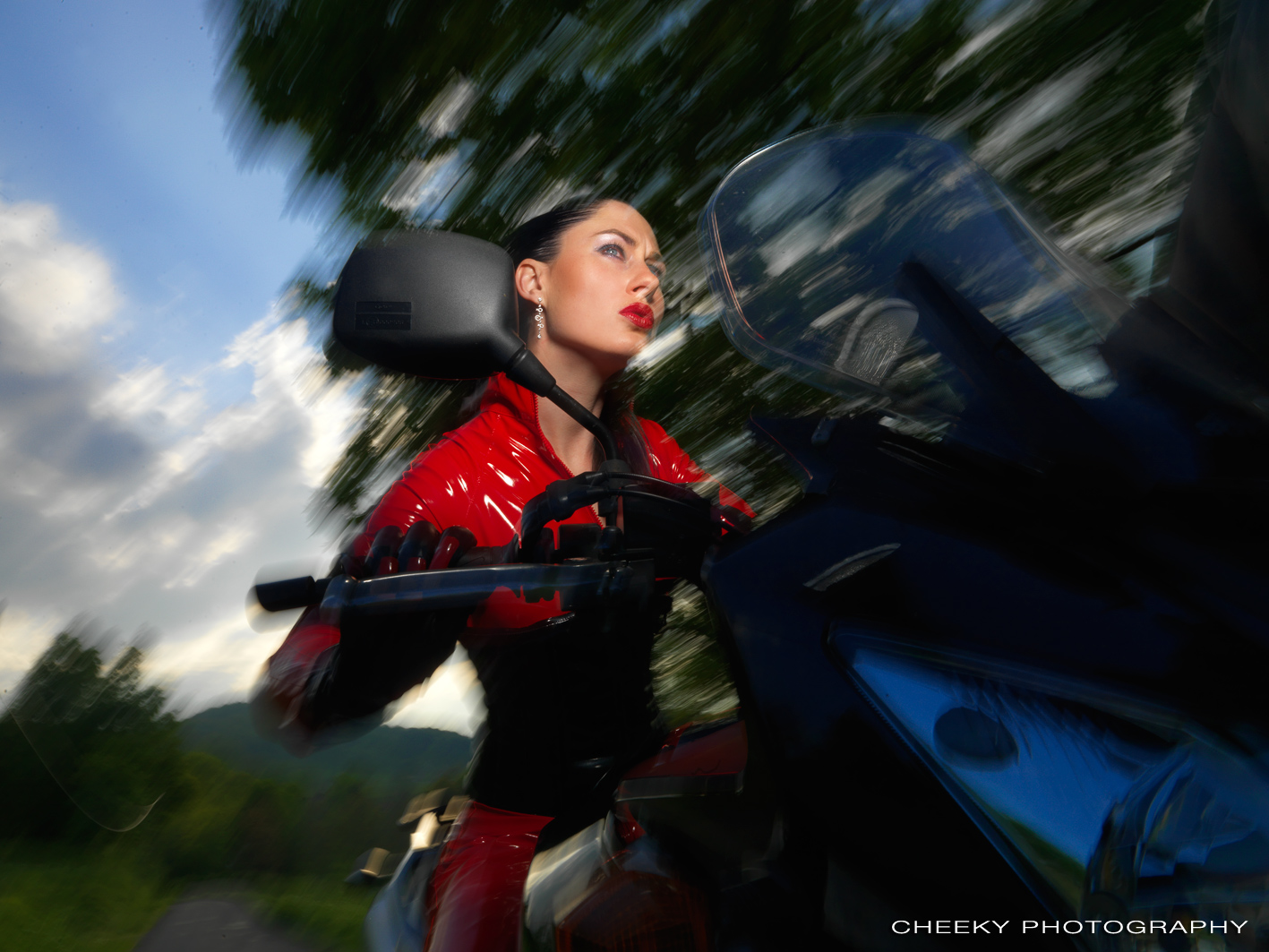 Madame Sarka from OWK / CZ having fun on her motorcycle