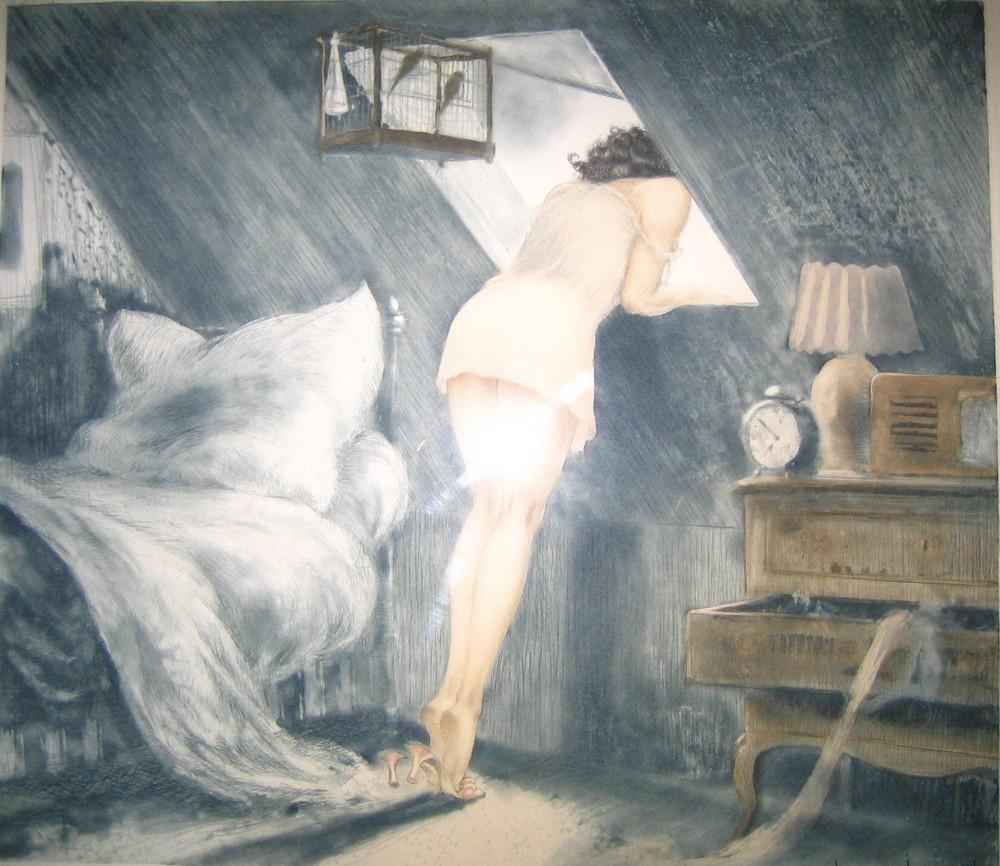 m dchen am fenster foto bild kunstfotografie kultur gem lde skulpturen gem lde und. Black Bedroom Furniture Sets. Home Design Ideas