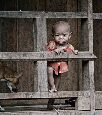 mädchen in einem bergdorf, laos 2010