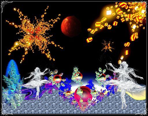 Märchenlandschaft mit Bonbonsternen, Apfelmond und Elfen