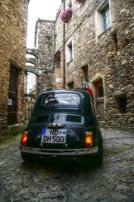 Magic car, old stones