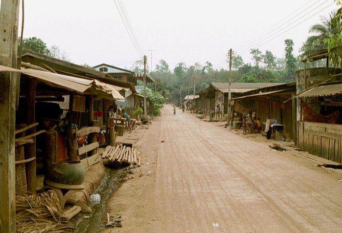 Main street in mountain village