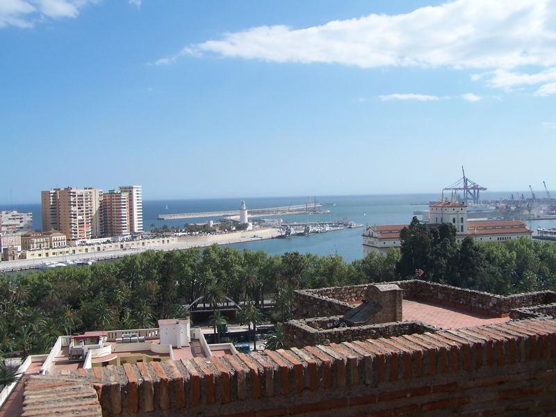 Malaga : Le port vue de la Alcazaba