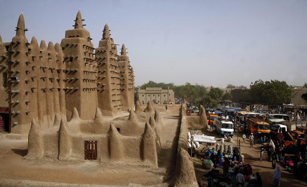 Mali, Djenné -größte Lehmbau Moschee der Welt