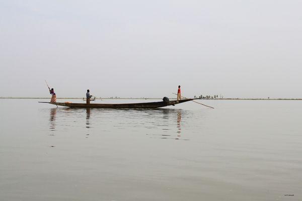Mali : pirogue de pêcheurs sur le lac Debo
