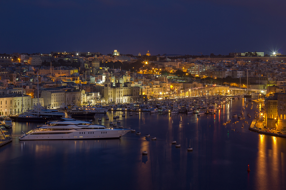 Malta und Vittoriosa bei Nacht