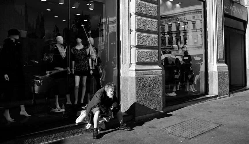 Man enjoying the street of milan