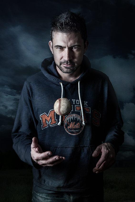 Man with baseball
