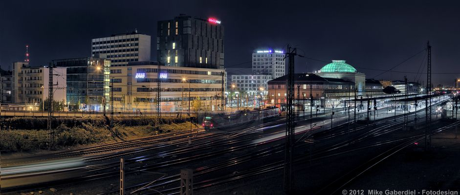 Mannheim, Germany, Night view of the Main Station area from south west