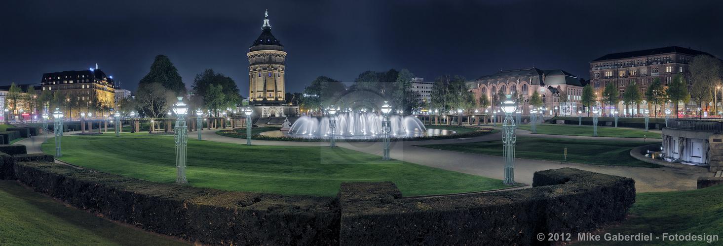 Mannheim, Germany, Wasserturm mit Rosengarten
