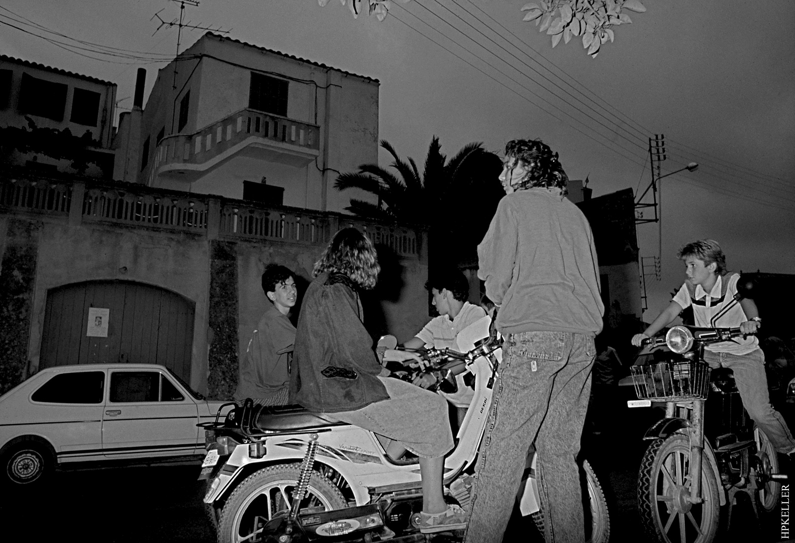 Many years ago in Cala Figuera (Mallorca), ...moped enthusiastic young people - Analogscan 1983.