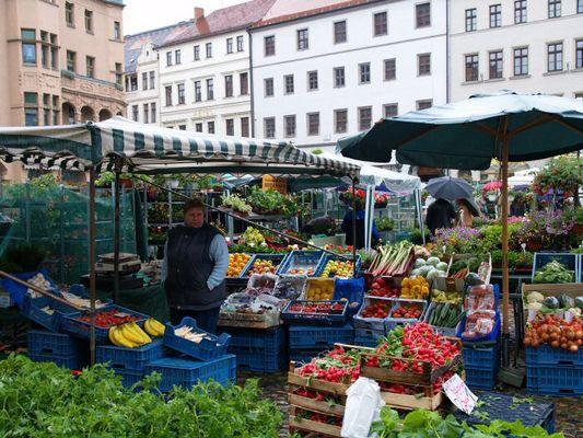 Market in the rain