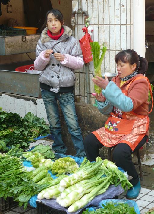 Marktfrau und Töchterchen