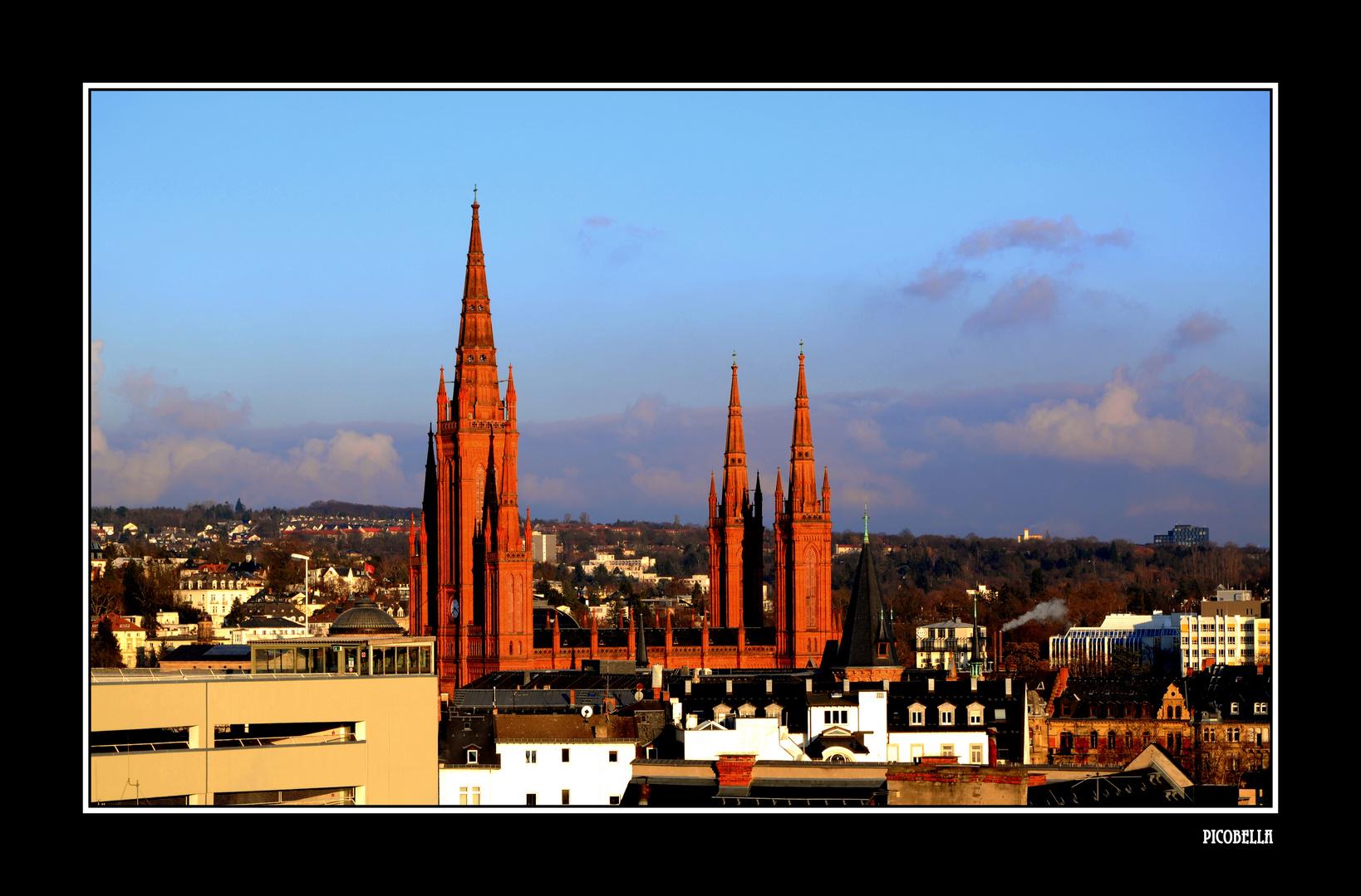 Marktkirche Wiesbaden Heute In Der Abendsonne Foto