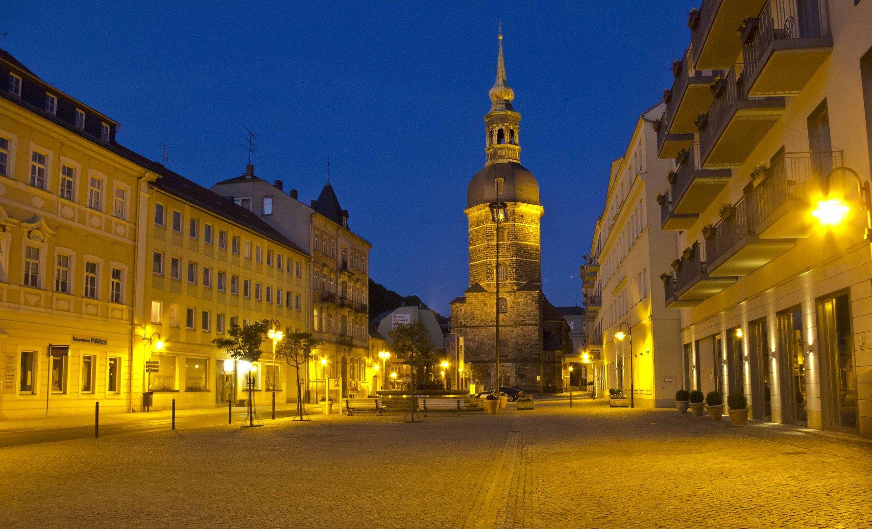 Marktplatz Bad Schandau am Abend