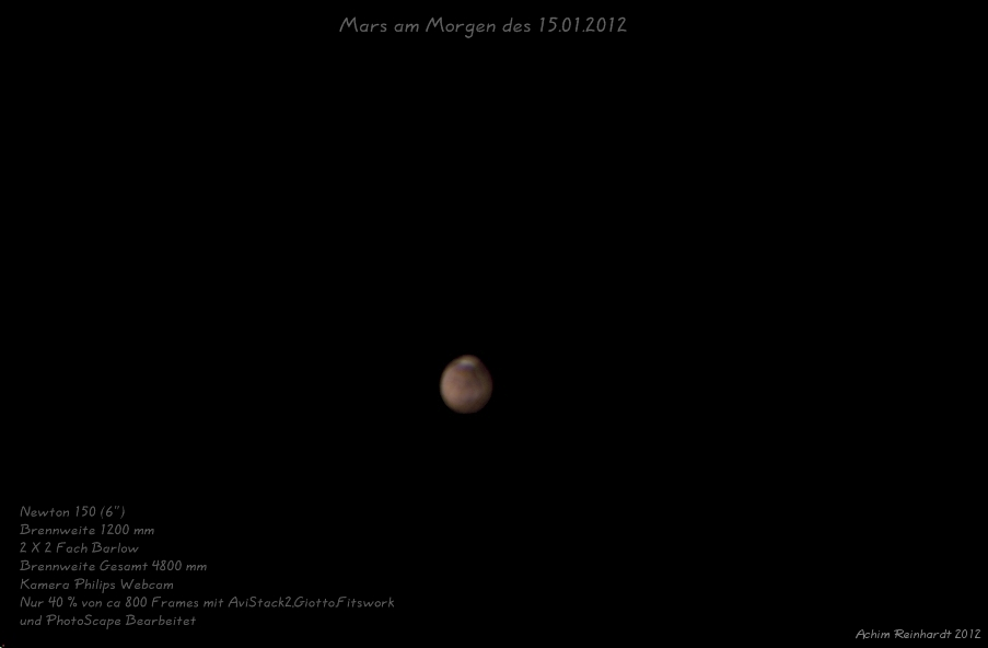 Mars am Morgen des 15.01.2012