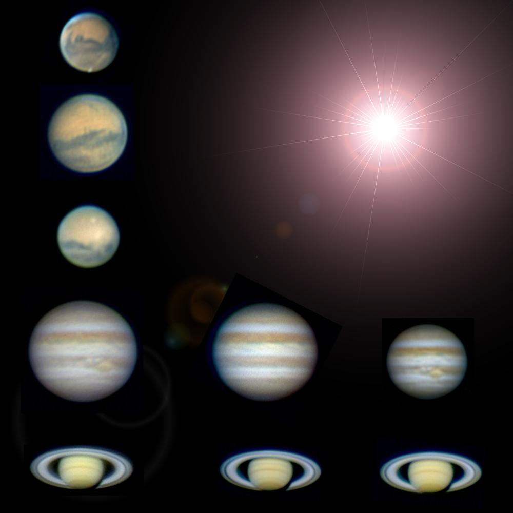 Mars, Jupiter und Saturn