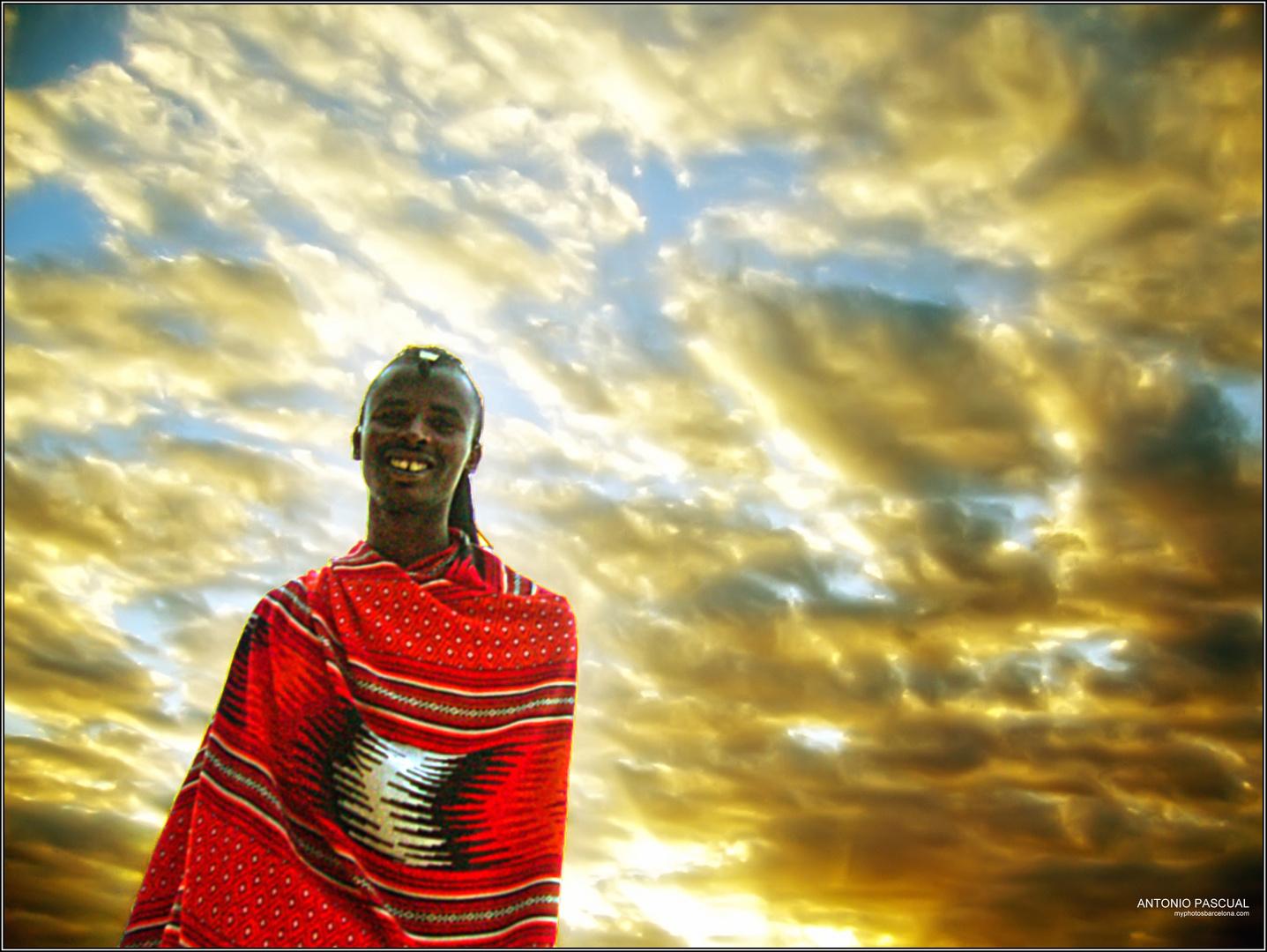 Masai al atardecer en Zanzivar