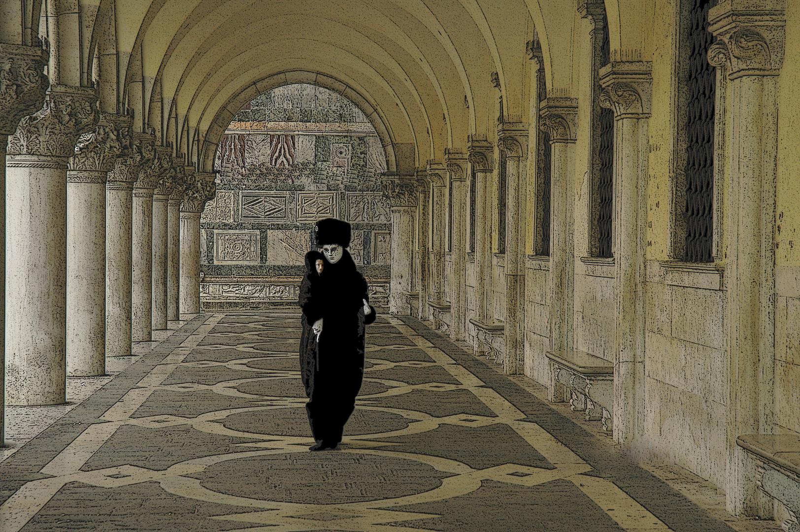 Maske im historischen Gewölbe