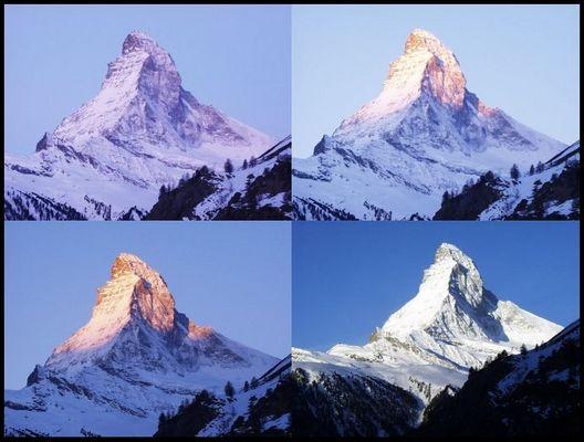 Matterhorn um 6:56, 7:03, 7:04, 7:44