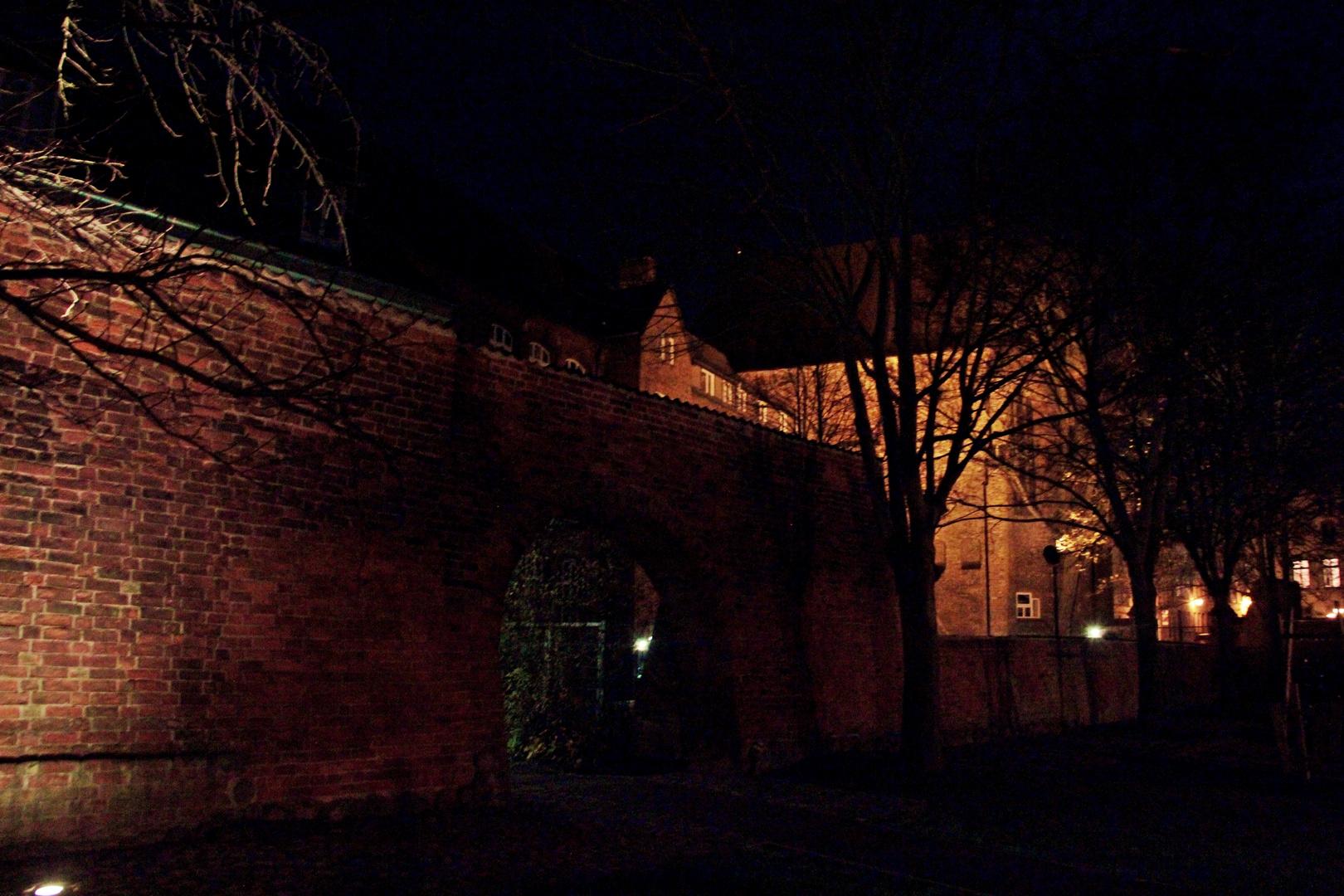 Mauerschein an der idyllischen Goethe Schule in Wismar