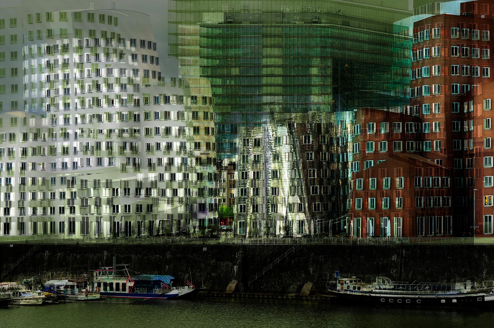 Medienhafen mit Stadttor Düsseldorf