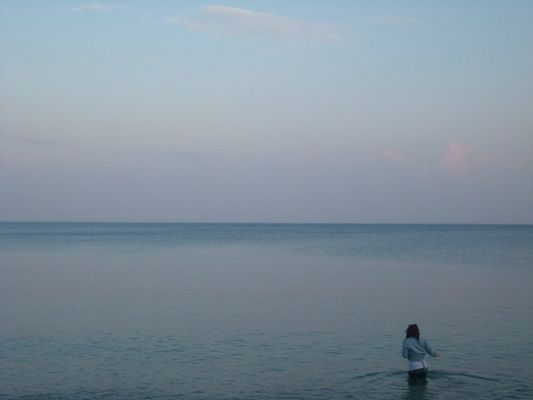 Megan in the sea.