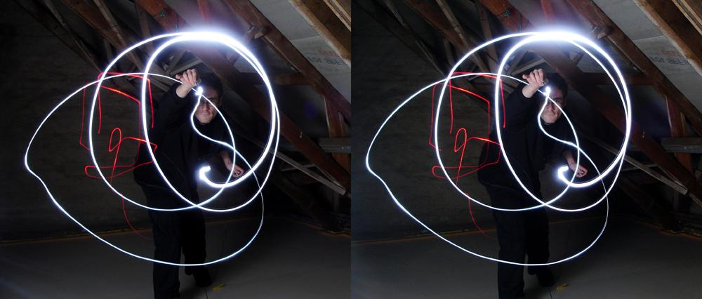 Mehrfachbelichtung, Licht und Laser