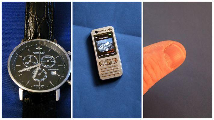 Meine Uhr, mein Handy, mein Daumen!