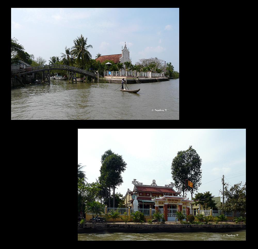 Mekong Delta - christliche Kirche - buddhistischer Tempel