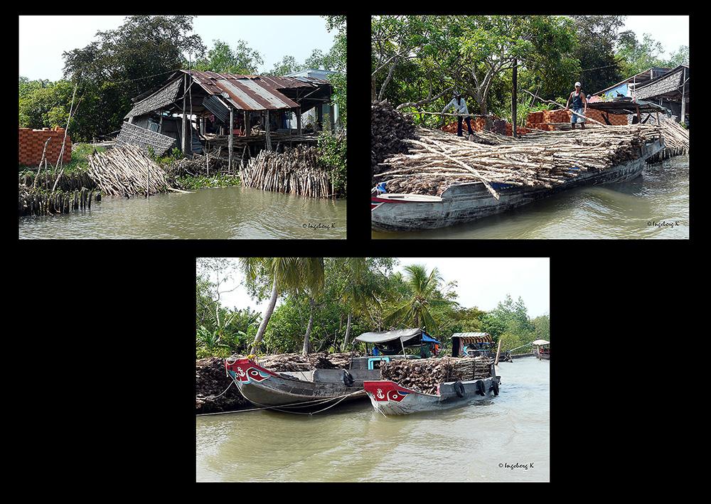Mekong Delta - Holztransport auf dem Fluss