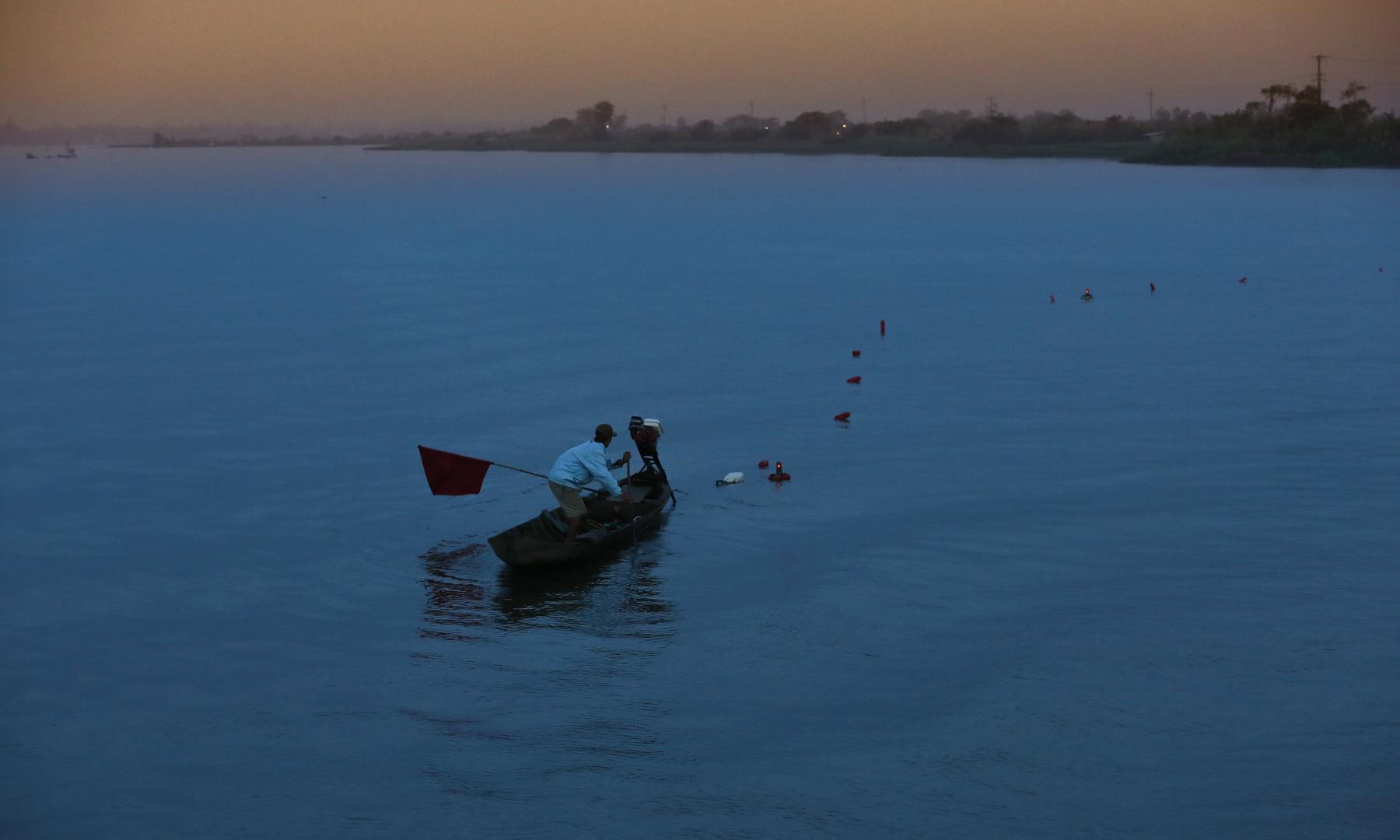 Mekong, Fischer im Sonnenaufgang