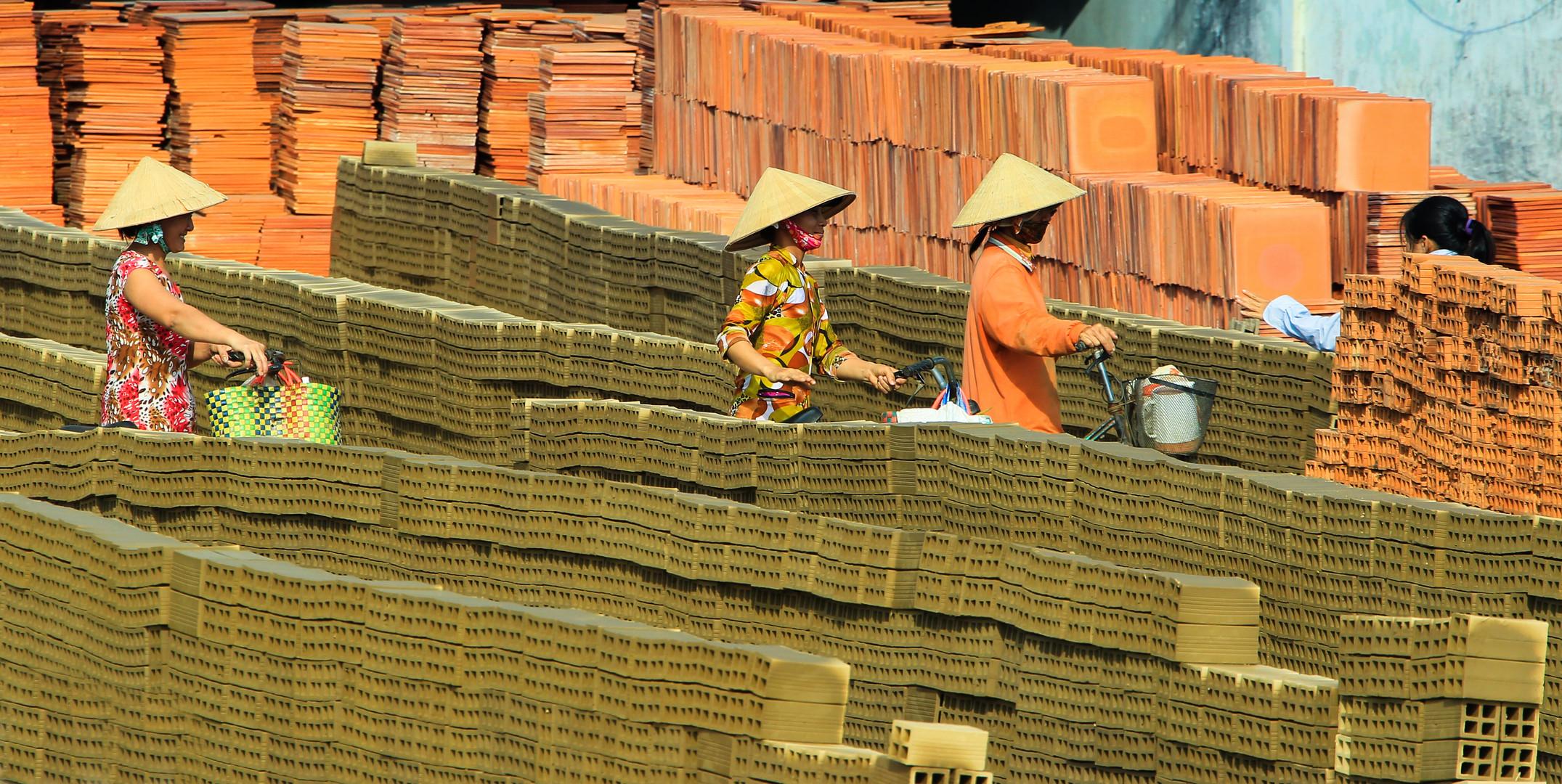 Mekong Ziegeleiarbeiterinnen mit Rädern