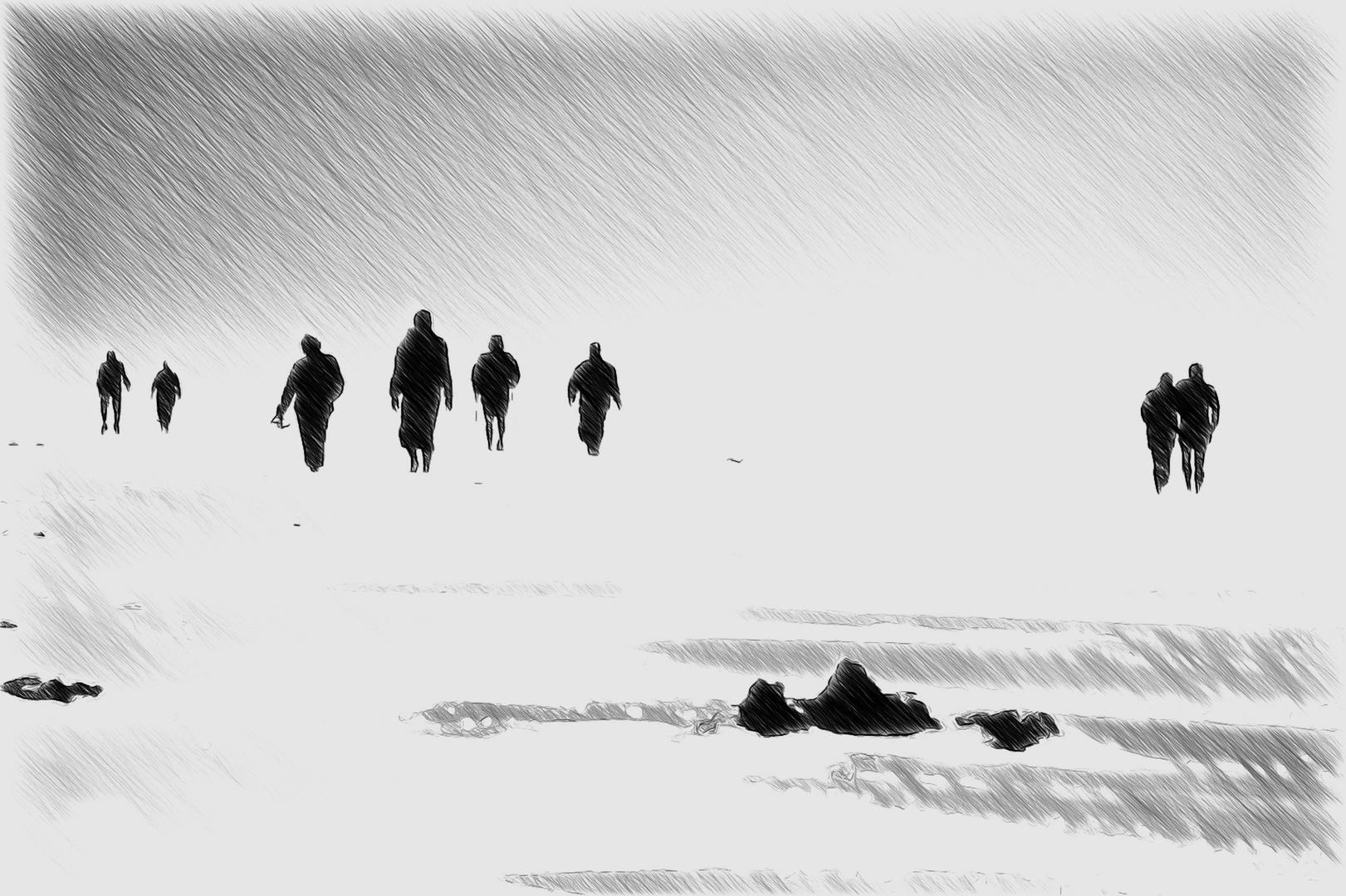 menschen am strand ...