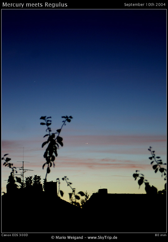 Merkur trifft Regulus am 10.09.2004