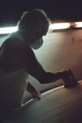 Mike Meyer, Jaaibay, ZA, beim schrubben.